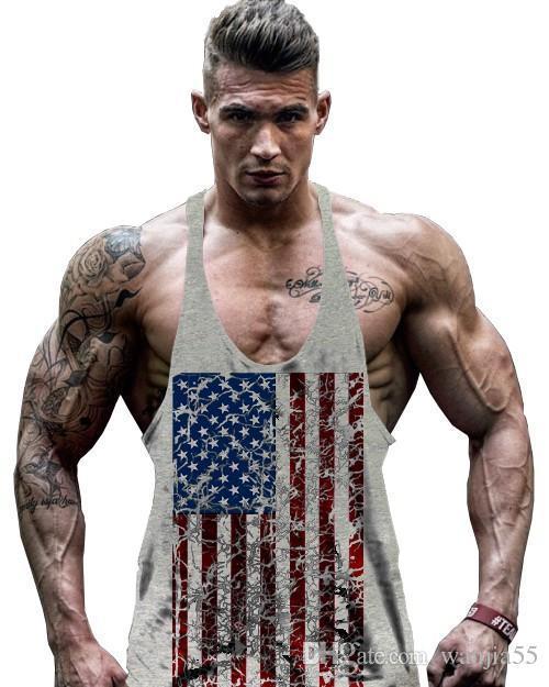 camiseta de los hombres calientes de la venta de la bandera americana Diseño Stringer Singlets gimnasios algodón tapas del tanque de la aptitud muscular culturismo sin mangas del chaleco cráneo