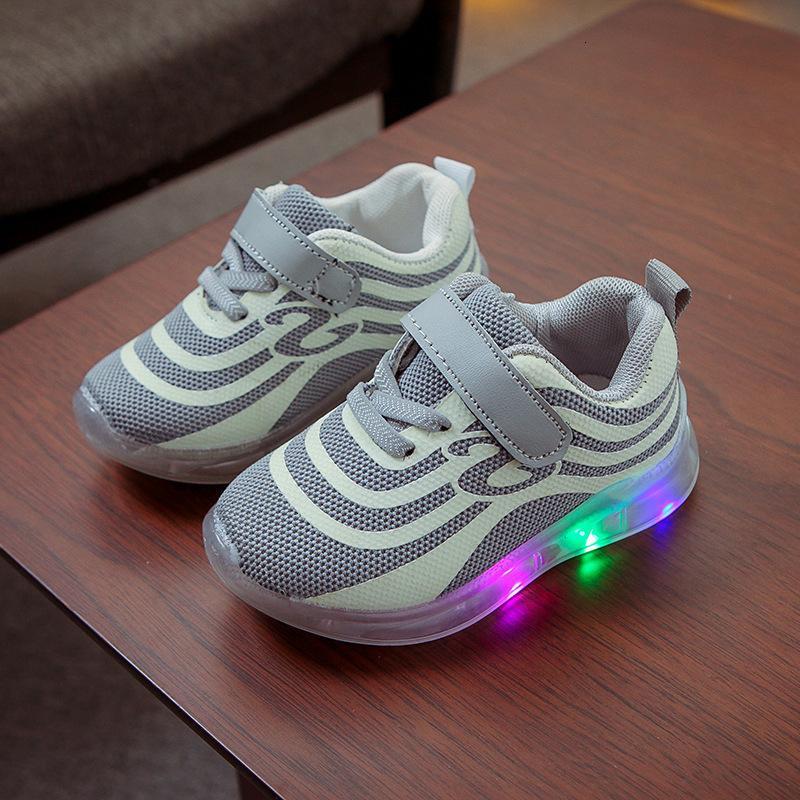 Осень Летучий ткать Детская обувь и света обувь водить Серебристые мягкой подошвой обуви Мужской Девушка Чистка обуви флуоресценция