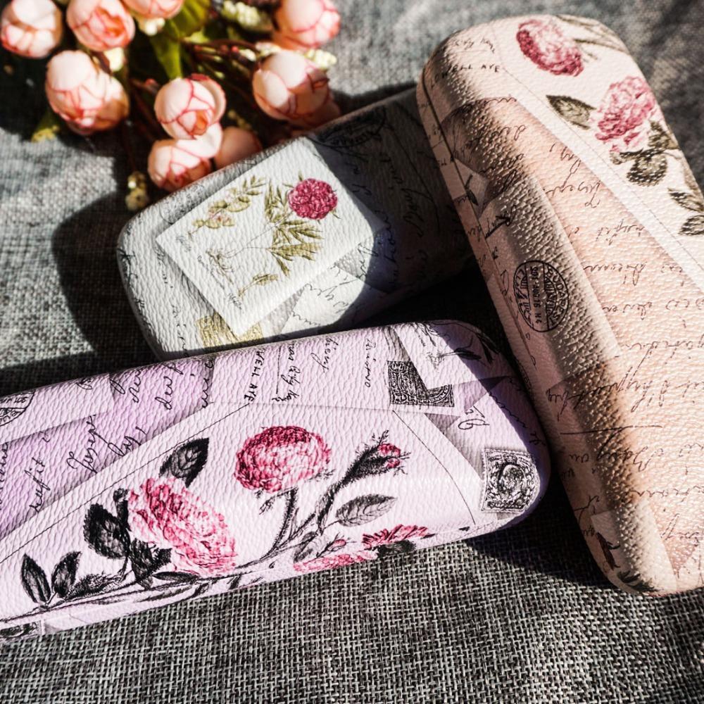Rose caso le donne Occhiali panno pulito elegante scatola degli occhiali arte pittura del modello di vetro caso multi colore del fiore