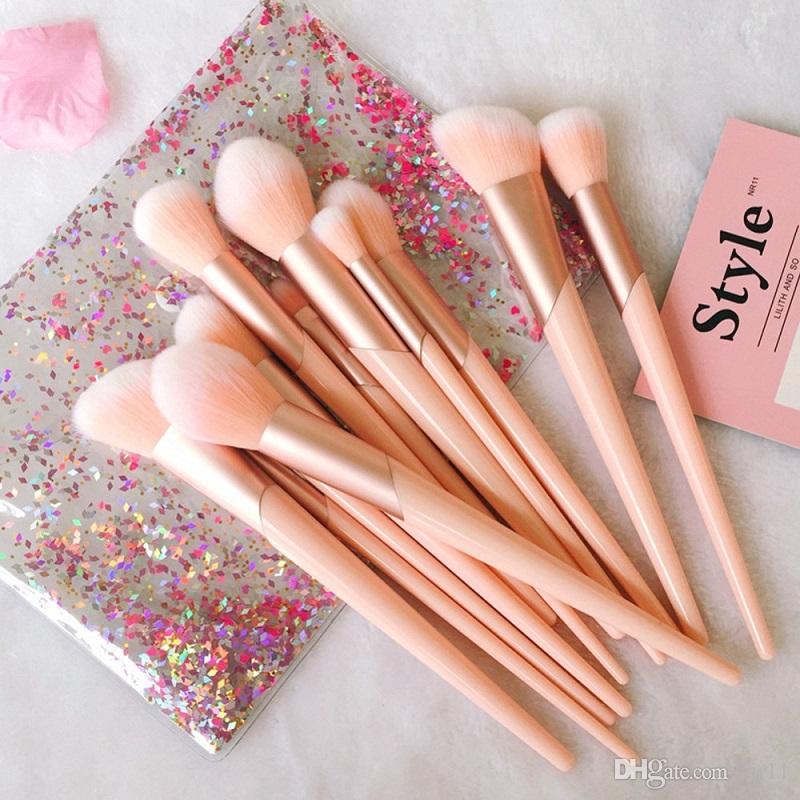 20 set 7pcs Rose Or Poignée Maquillage Pinceaux Ensemble Fondation Poudre Blush Ombre À Paupières Lèvres Lèvres Visage Beauté Maquillage Outils Kit avec Étui