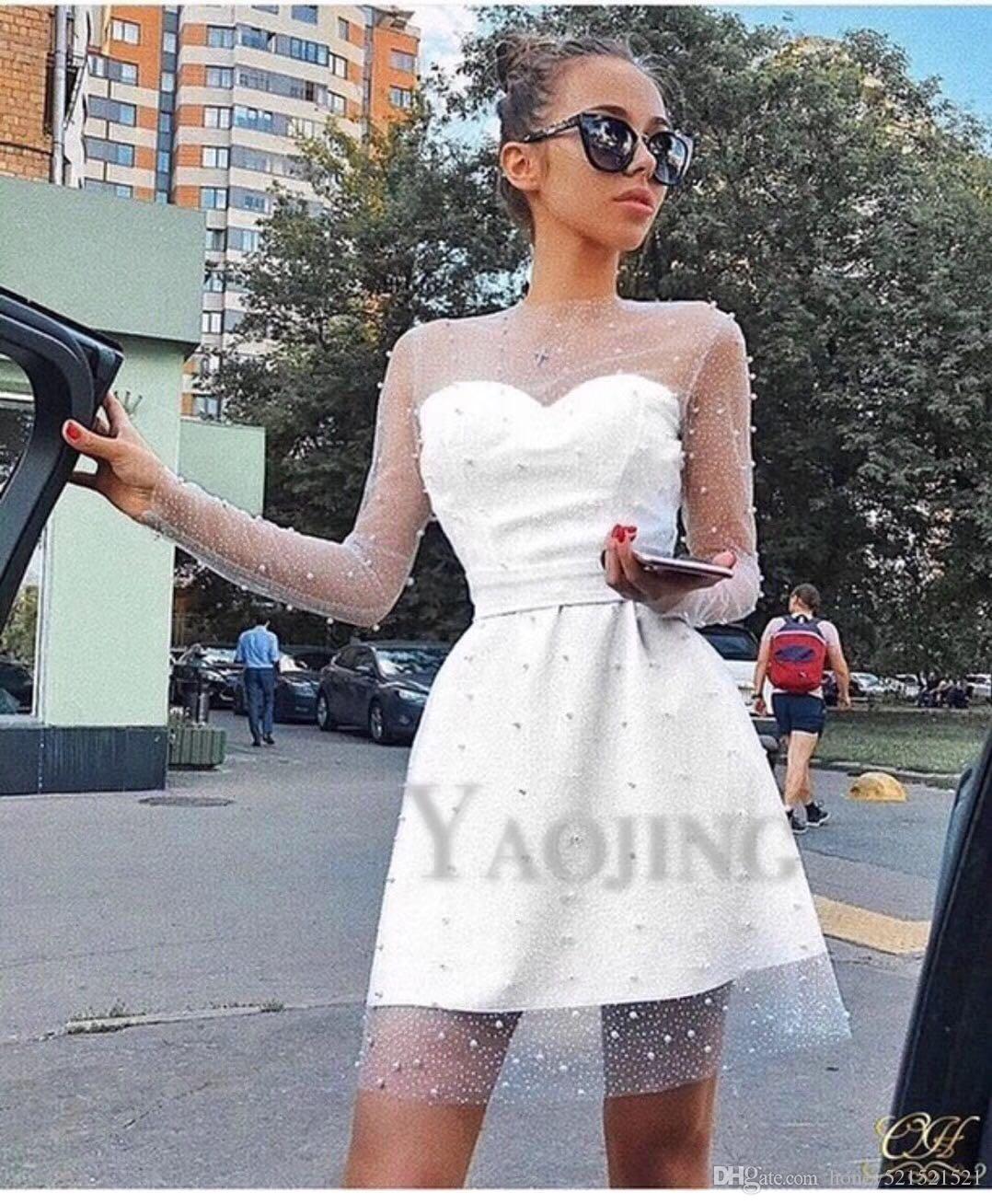 2020 تصميم الأزياء الفرنسي إمرأة جديد س الرقبة منظور مثير الشاش طويلة الأكمام الديكور عالية الخصر ثوب حزب ثوب الكرة vestidos SML