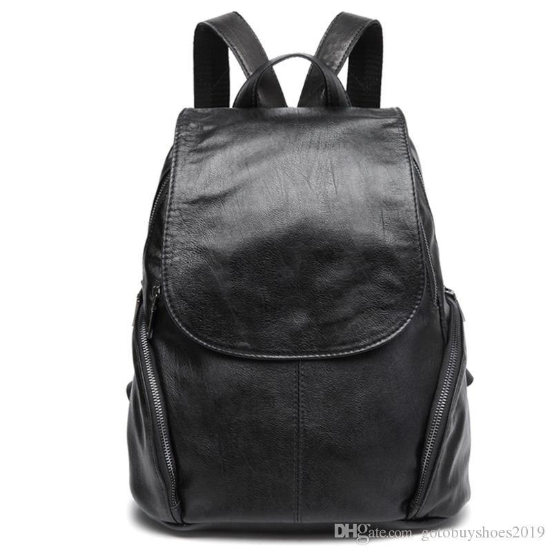 Backpack Women Sheep Leather Backpack Bookbags Travel Anti Theft Backpacks Mochila Feminina Solid Softback #316983