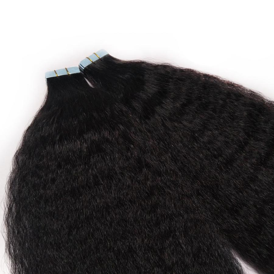"""Unsichtbare Remy Kinky Curly Skin-Schussband in menschlichen Haarverlängerungen Jungfrau-Haar Schwarz Braun Blondine 100g doppelseitiges Klebeband in am Haar 14 """"-24"""""""