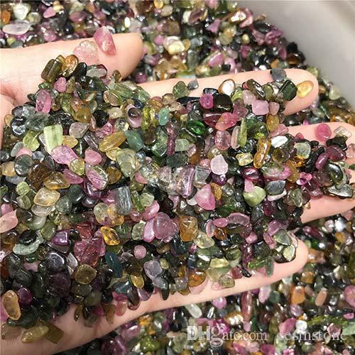 100g Tourmaline Quartz Gravel Red sard crystal Decorate Aquarium Fish Tank Stone Tumbled Crushed Irregular Shaped Chip adorn Healing Rainbow