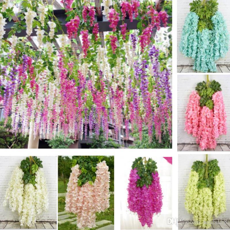 인공 꽃 스트립에 대 한 웨딩 장식 등나무 시뮬레이션 긴 실크 식물 꽃다발 방 정원 정원 꽃 화 환 HH9-2118