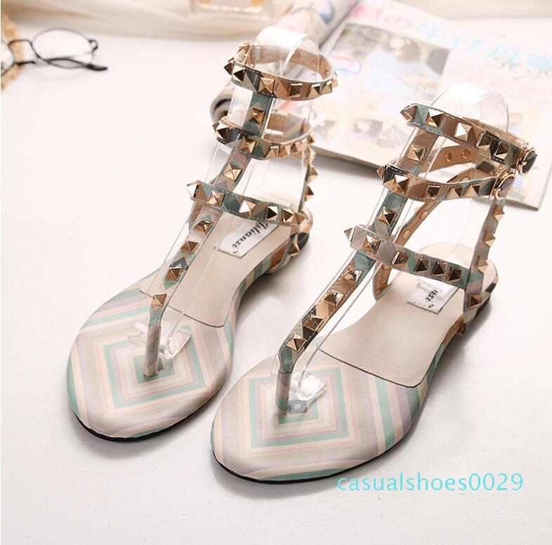 Myfitgo praia Flip Flops Sandals Mulheres Verão Plano Sandals Mulheres Rivet Casual Sólidos Calçados da bracelete de plástico geléia para meninas c29
