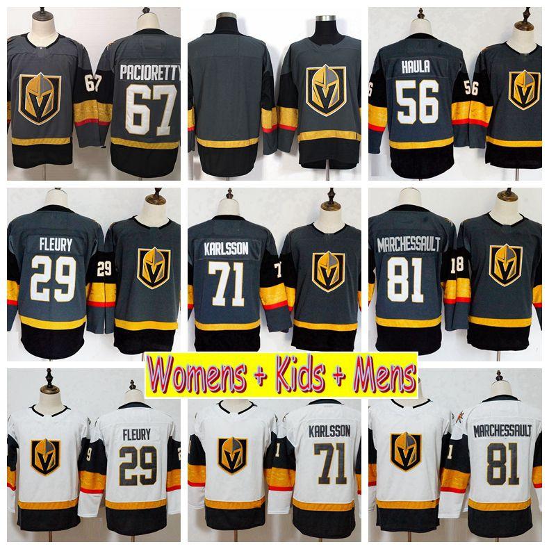 2019 Youth Vegas Golden Knights 29 Marc-Andre Fleury William Karlsson 67 Max Pacioretty Marchessault Haula Kids Womens Mens Hockey Jerseys