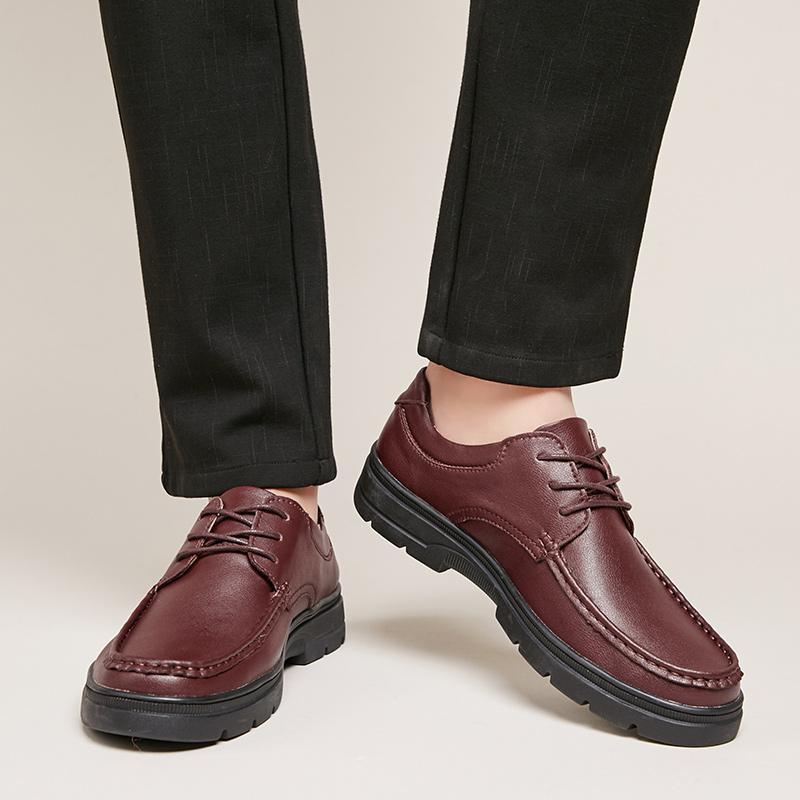 2019 Новая ручная работа из натуральной кожи Мужской обуви Sping Осень Бизнес Мода Мужчины Обувь Покрытие Толстой подошва коровья Мокасины
