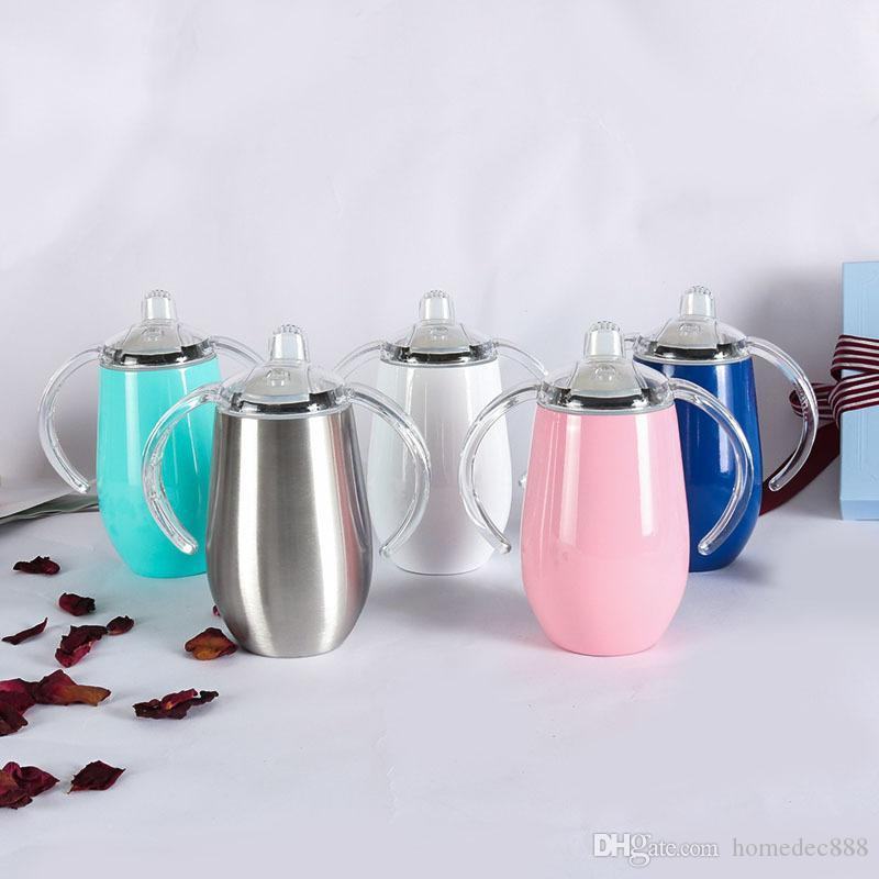 8 oz de pared doble tazas de café vasos vasos de vino copa de vino con mango mango vaso de acero inoxidable con tapa manija DH1092