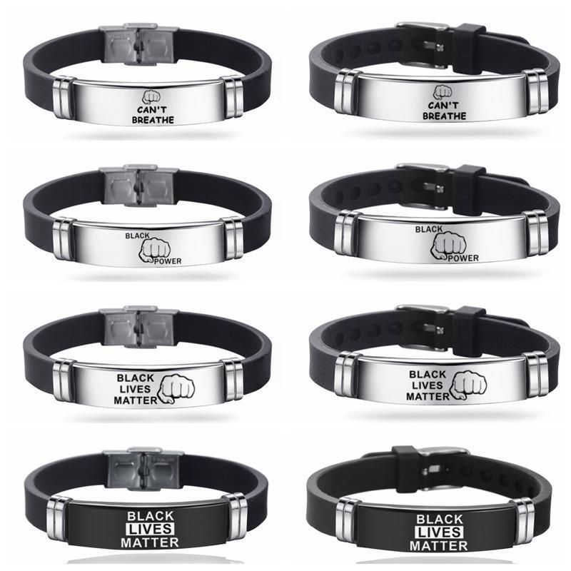 Bracelet en silicone Punk en acier inoxydable pour les hommes Lives Noir Matière JE PAS RESPIRER Bracelet réglable Bracelet bijoux à la mode