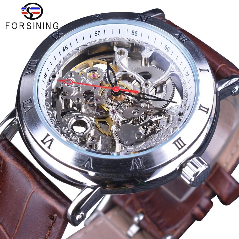 Forsining Waterproof Gear Flower Movement Transparent Leather Clock Men Skeleton Automatic Mechanical Watches Top Brand Luxury