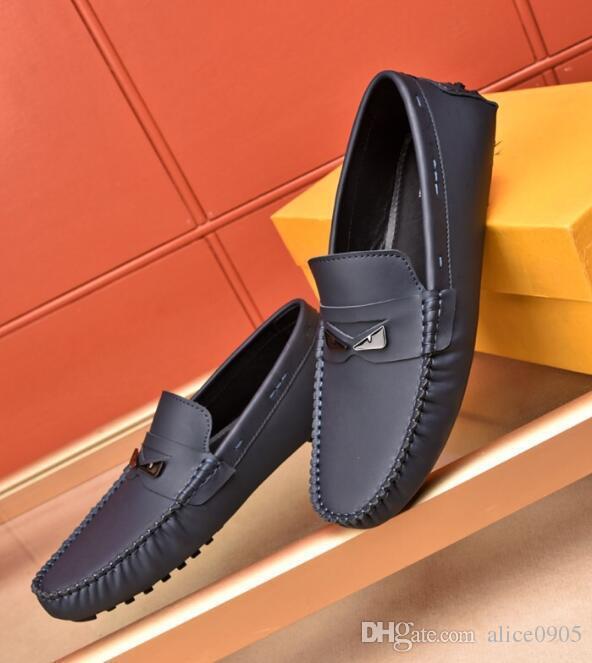 Slip-On FD para hombre Bird de los holgazanes mocasín gommino genuino casual del cuero del ocio Drive tamaño de los zapatos 38-45