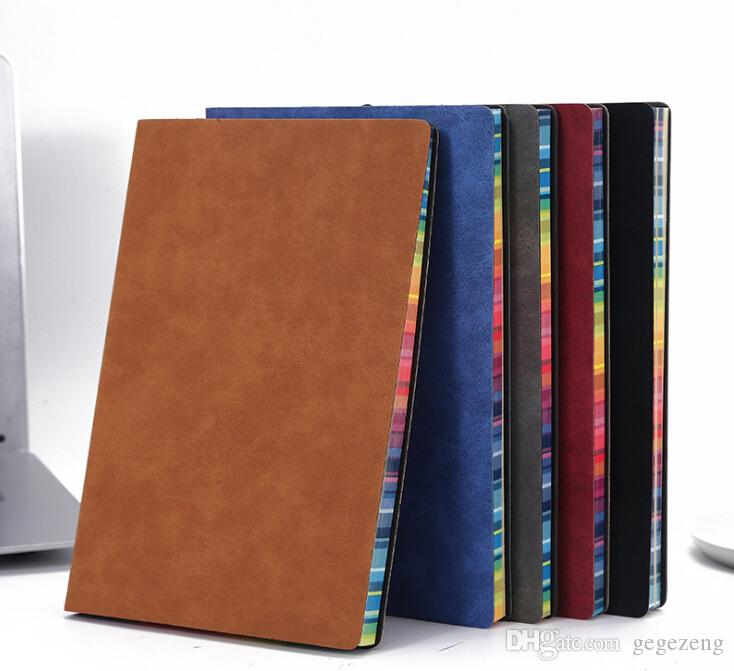 Wholesales Free shipping Hot ventes Colorful portable côté arc-en-couverture simili cuir A5pu bloc-notes de l'usine de journal