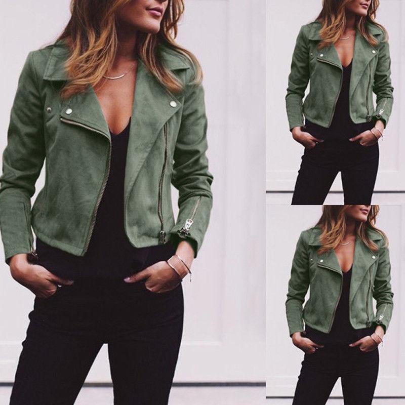 가을 숙녀 패션 기본 짧은 짧은 자켓 캐주얼 여성 탑스 오토바이 모토 짧은 PU 가죽 자켓 코트 슬림