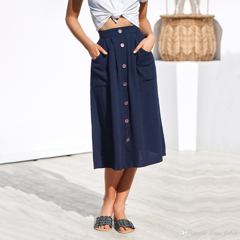 Women Skirt Ladies Button Retro Fashion Skirt Evening Loose Party MIDI