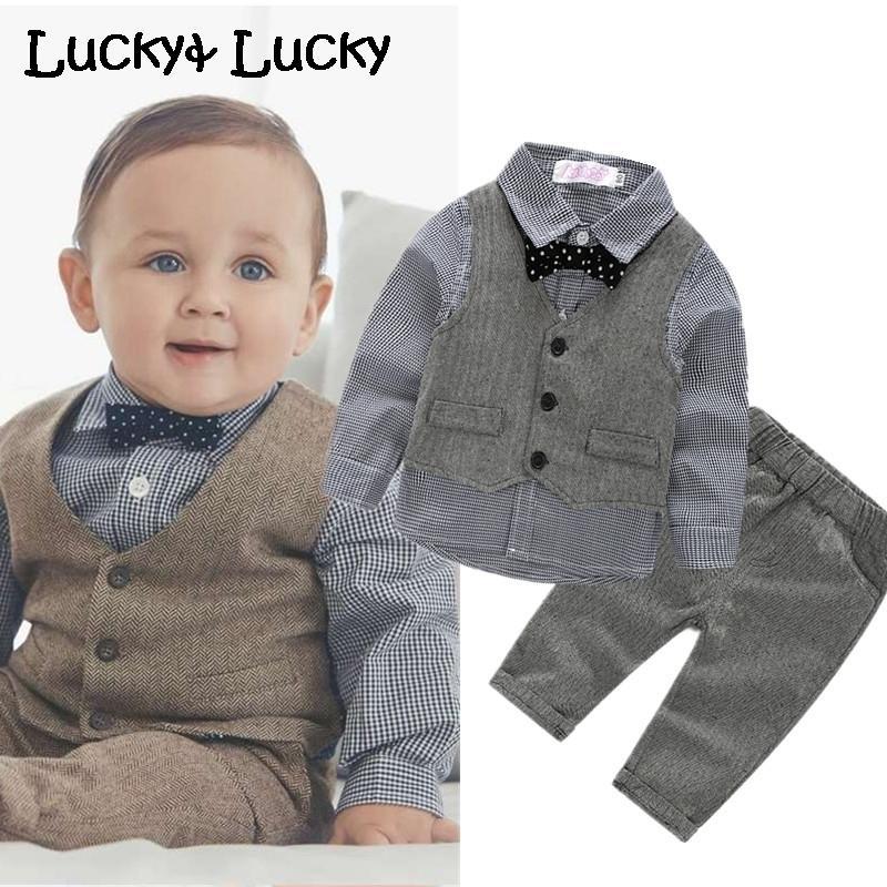 (4 teile / satz) Hochzeitskleidung Set Neugeborenes Baby Kleidung Shirt + weste + hose + bogen J190514