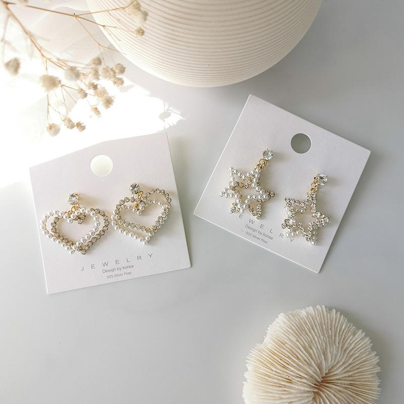 Prata Pin Exagero Imitação Pérola Strass Pentagram dobro do coração brincos para a menina Moda Jóias e Acessórios