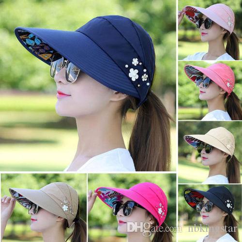 Солнцезащитные колпаки от солнца Foldbale для женщин Шляпы от солнца с широкими полями Защитная крышка от ультрафиолетовых лучей Floppy Beach Packable Visor