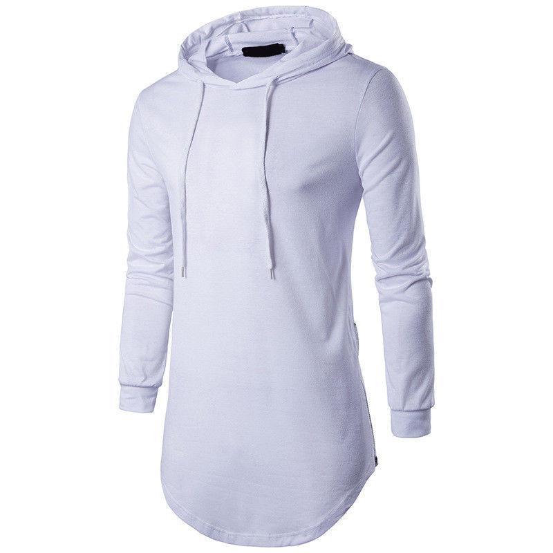 Cotton Lycra Moda Uomo camicia a maniche lunghe con cappuccio da uomo Slim Fit 2 colori solidi Shirt Top Size uomini di L-XXL