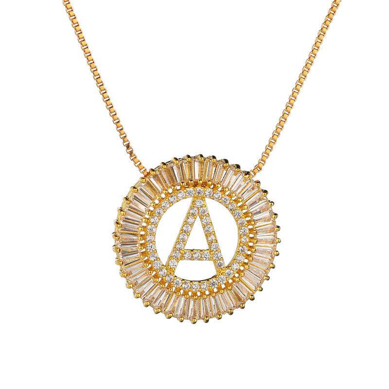 جودة عالية الذهب طويل قلادة الأبيض مصمم مكعب زركونيا الأحرف الأولى رسالة قلادة القلائد للنساء الرجال دبي مجوهرات تشيكوسلوفاكيا colar