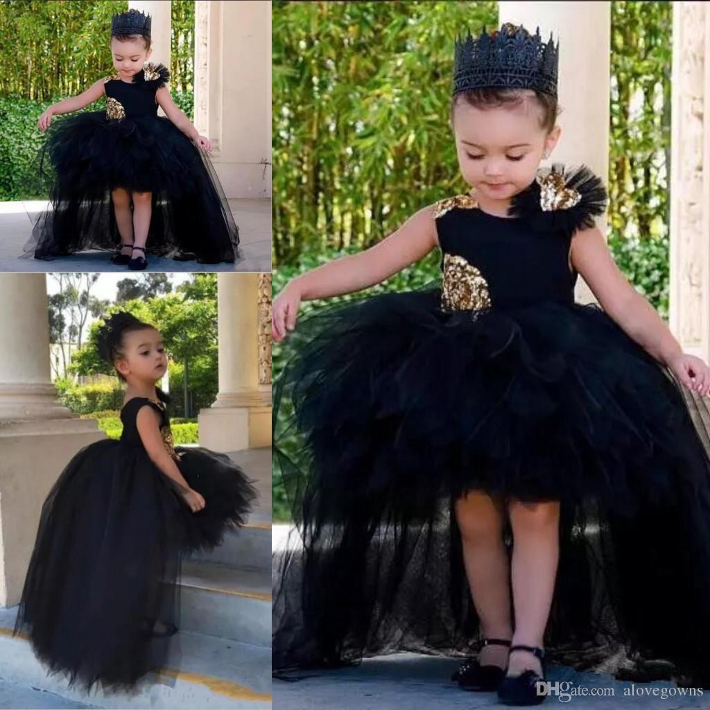 Mode haut Plus bas filles Pageant Robes Tulle Tutu Puffy robe de bal pour enfants fleur fille robe sans manches Tout-petits Pageant Appliqués Robes