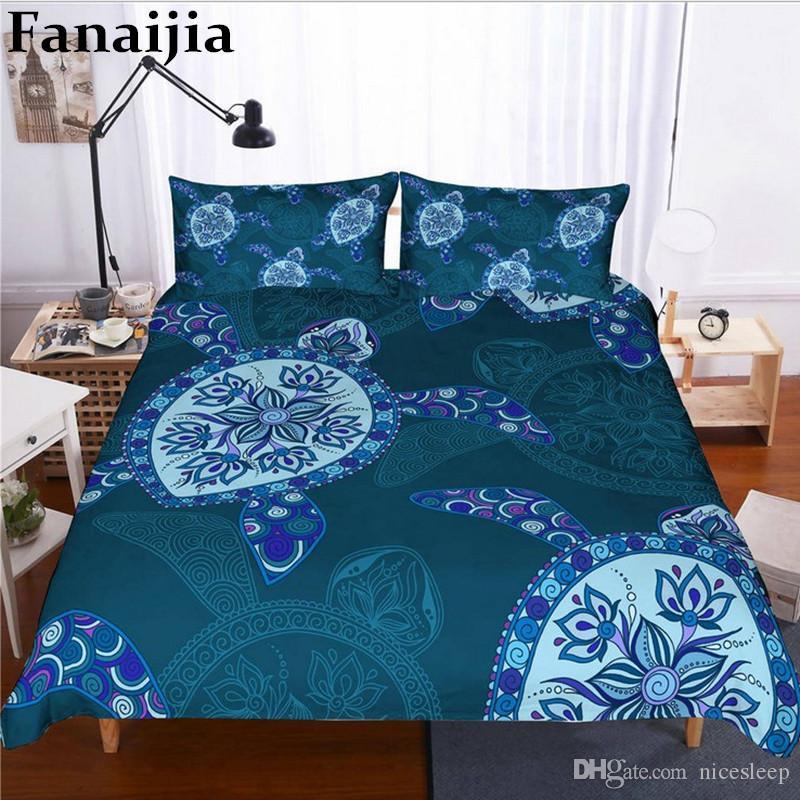 3d Turtle duvet cover set Underwater World bedding set queen size Bed Set Bedclothes full size