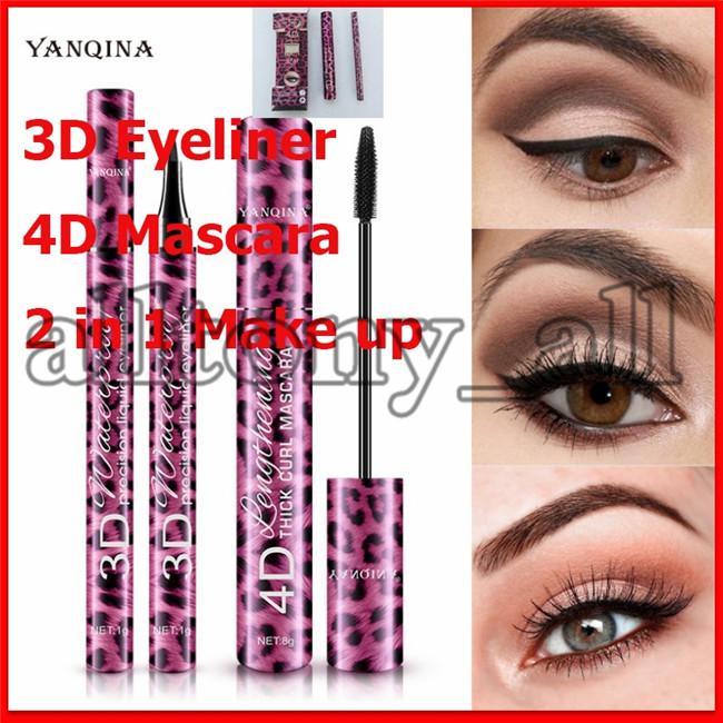 Jeu de maquillage 2020eye 2 en 1 Mascara Eyeliner 4D épais Curl 36H Eye-liner Liquide Type d'étanchéité longue durée allongée Cadeau de Noël
