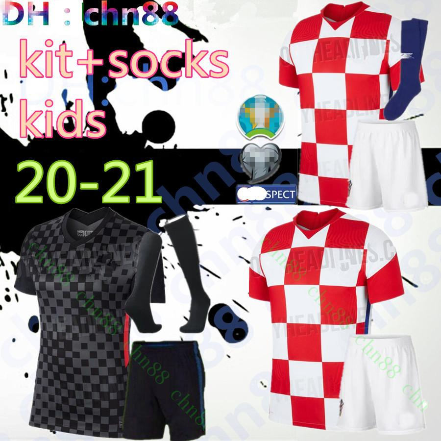 2020 2021 Kit d'enfants Mandzukic modérique + chaussettes Jerseys de football 20 21 Coupe du monde Rakitique Périsque Kalinic Srna Kovacic National Team Football Shirt