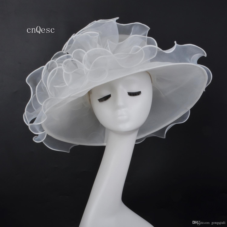 2019 Avorio a tesa larga Organza Cappello netto cappello Cappello formale per la festa delle corse di nozze della Kentucky derby church