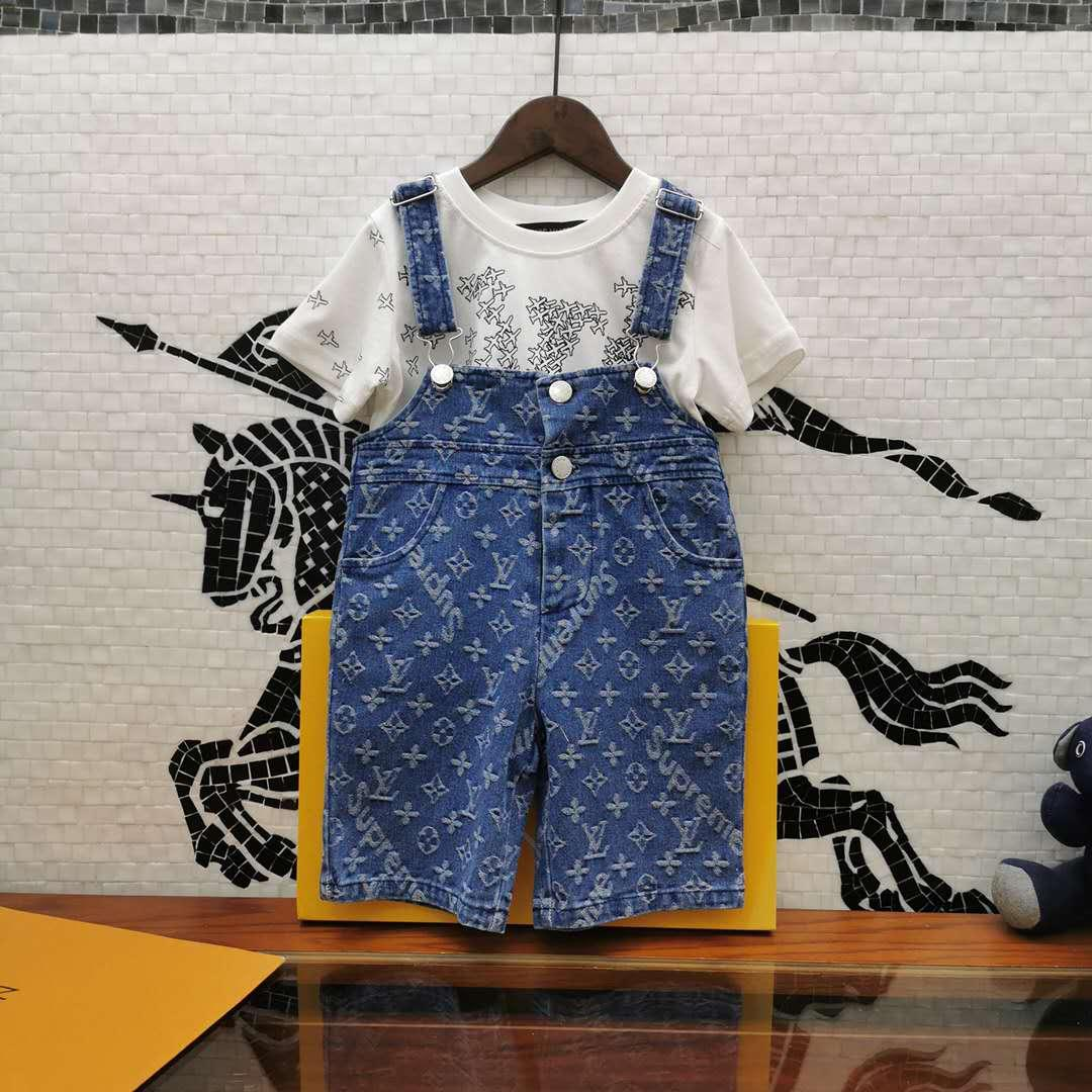 Fahion diseñador de chicas muchachos de los niños de la ropa del bebé camiseta + suspender Vaqueros 2pcs infantil Trajes 2020 ropa de los niños calientes