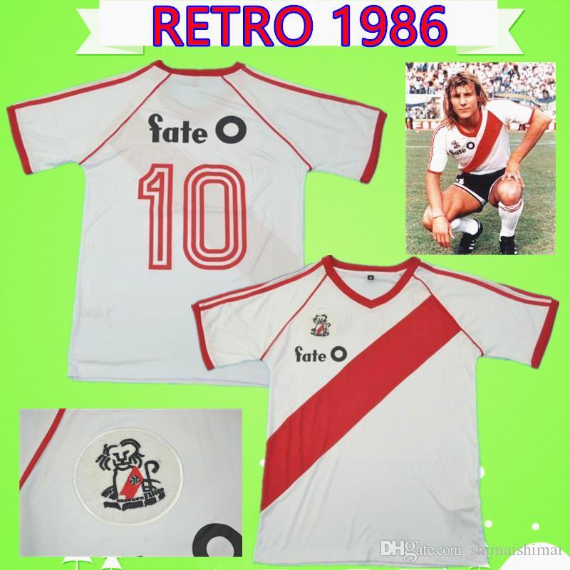 RETRO 1986 1987 River Plate Fußball Trikot Antonio Alzamendi Shirt Klassiker gedenken Sammlung Vintage Gallego Camiseta de Futbol 86 87