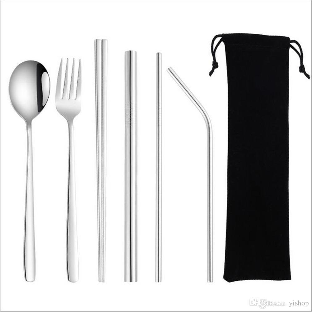 Silberbesteck Edelstahl 304 Straw Löffel Gabel Stäbchen Reinigungsbürste mit Pounch Umweltfreundlich Geschirr Set