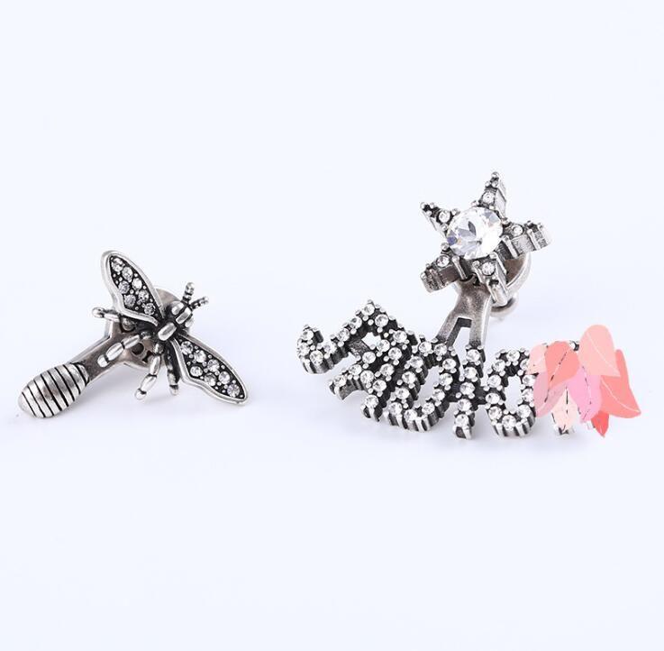 Gros- boucles d'oreilles de créateurs d'abeille lettre de la marque pour dame design femme Party cadeau Lovers mariage bijoux pour la mariée avec boîte