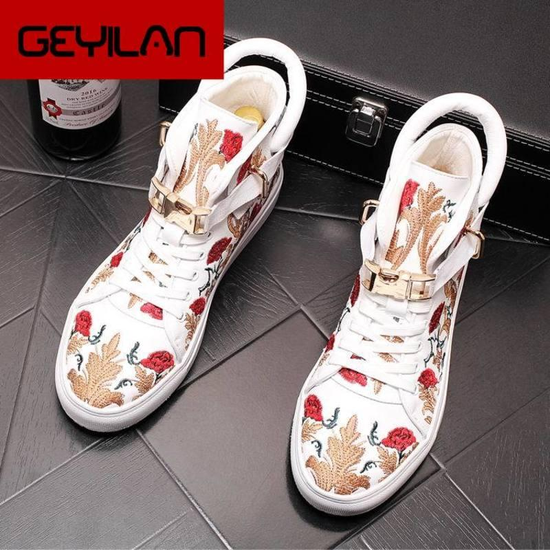 New Arrival Fashion Men White Casual Comfort Shoes High Top Embroidered Flower Flat Platform Leisure Shoes Man Hip Hop 43