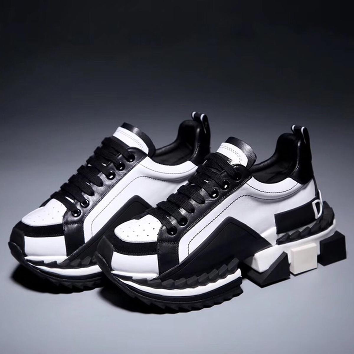 Топ мода Повседневная обувь кроссовки новая высокая версия досуг спорт толстое дно коровья пара мужчины и женщины круглая голова низкая верхняя обувь Type1