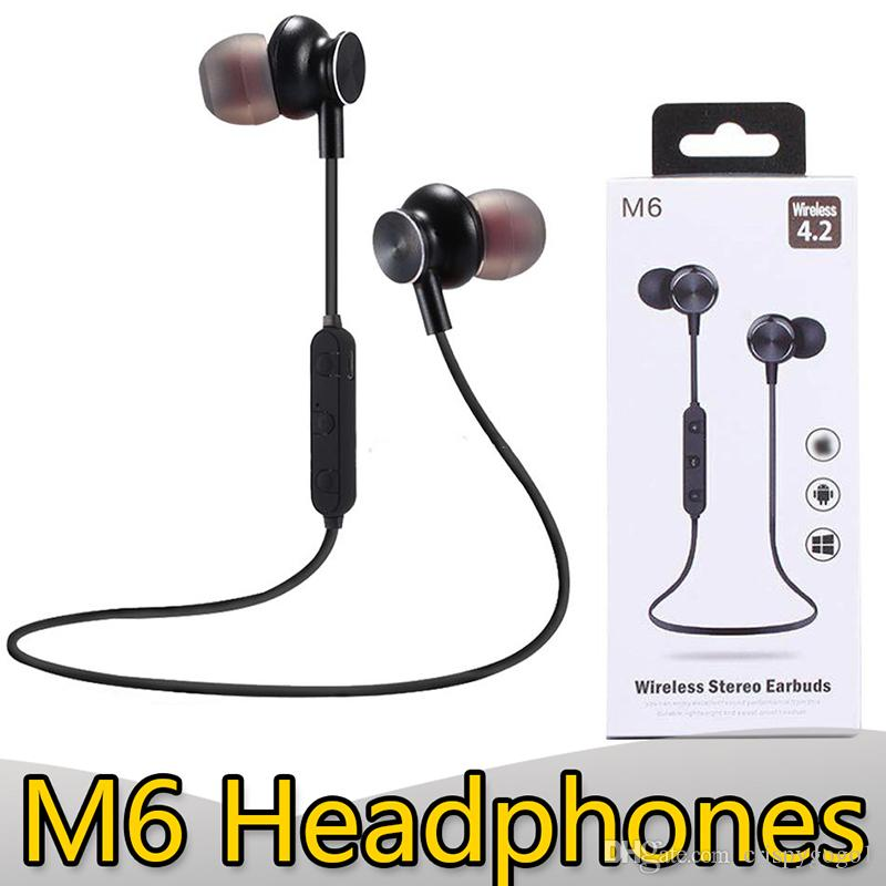 M6 Bluetooth Headphones Magnetic Earbuds V4 2 Sport Wireless Earphone With Mic Stereo Headset For Android Iphone Samsung With Retail Packa Bluetooth Headset Headset From Crispygogo1 2 65 Dhgate Com