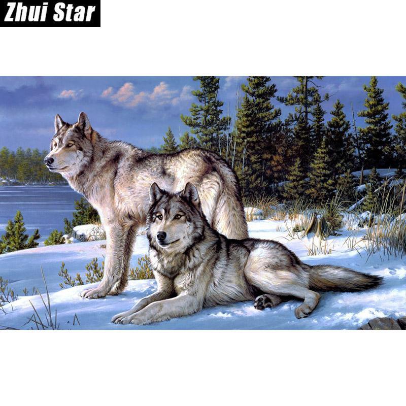 Wolf Kreuzstich Kits fügen Sie die Handarbeitspackungen Wohnzimmer Malerei 0135R- Platz Diamant-Stickerei zx