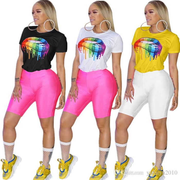 2019 new summer women active wear colorful mouth print tee top short sleeve o-neck fashion t-shirts casual t shirt sqfs HG5180