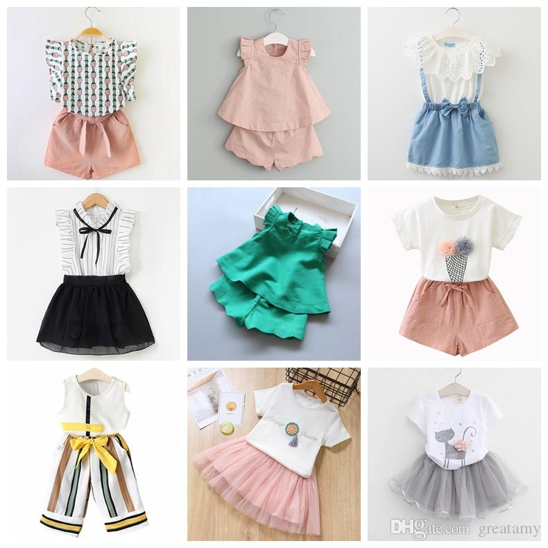 2-7T Baby Girl Clothes Fashion Cartoon Girls Summer Set Clothes Baby Suits Kids T Shirt +Pants Children Clothing Set good quality boutiques