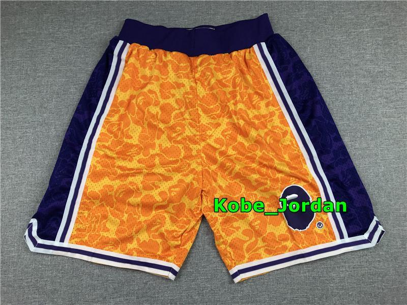 Hommes JUSTE DON Pocket Basketball Shorts authentiques Lakers StitchedAPE Mitchell Ness Short de poche doublure en maille sport Pocket Sweatpants