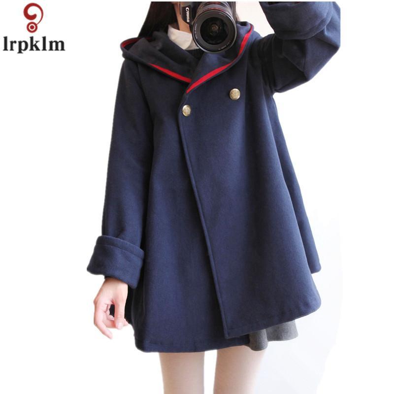 Women's Winter Coat Ladies Wool Cape Jacket Long Korean Female Lolita Jacket Plus Size Woollen Coats 2018 New fashion Coat CH420 LY191223