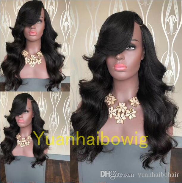 Celebrities Lace Wigs Virgin Brazilian Human Hair Wigs Loose Wave Side Bangs Celebrity Full Lace Front Wigs for Black Women Free Shipping
