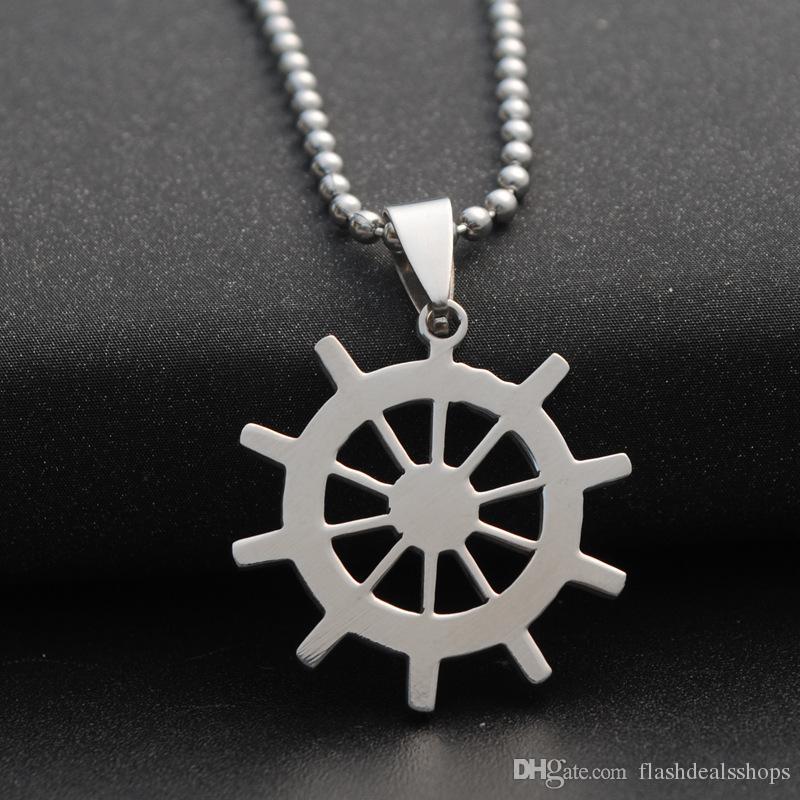 Forma do leme colar de pingente de alta qualidade charme navio leme colar de pingente de aço inoxidável Hip hop rap jóias unissex atacado