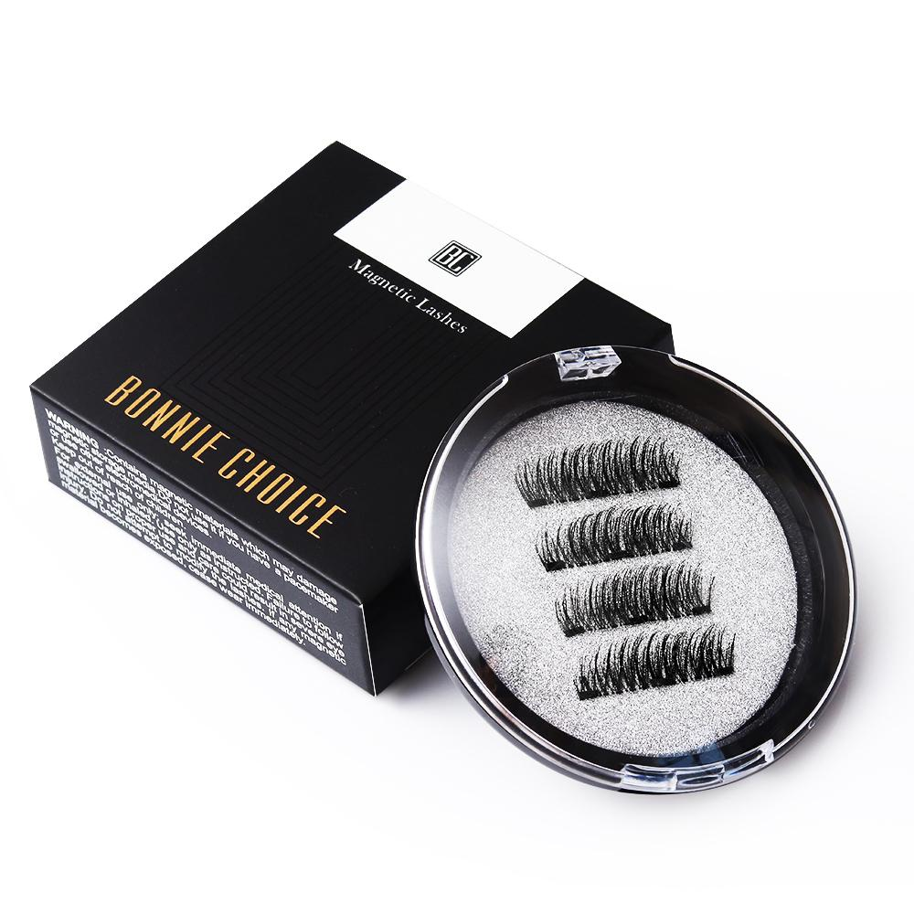 BONNIE CHOICE 3D Magnetic Eyelashes with 3 Magnet False Eyelashes Handmade Eye Lashes 4Pcs Eye Makeup Kit D19011701