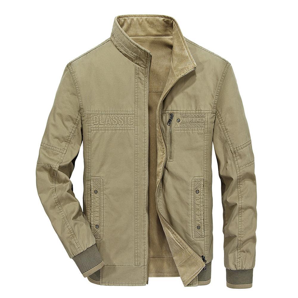 2018 년 남자 가을 겨울 착용 양면 코튼 자켓 패션 칼라 지퍼 코트 자켓 남자 코트