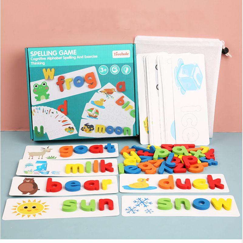 Bebé Educación temprana Puzzle de hechizos Juguetes Juguetes de madera Aprendizaje temprano Jigsaw Letra Alfabeto Puzzle Preescolar Educación para bebés Juguetes
