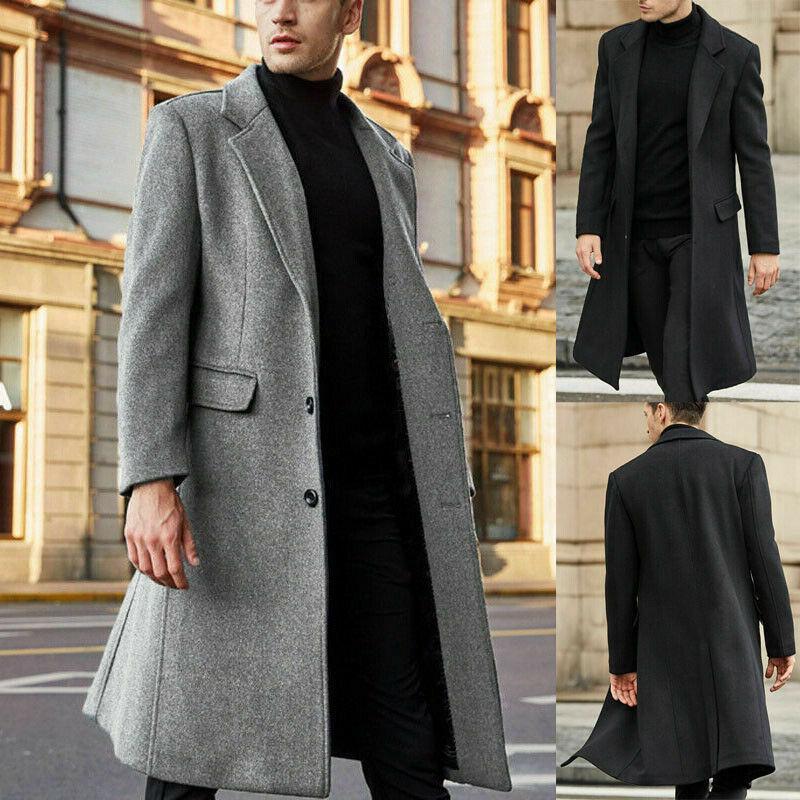 Revestimento dos homens Outono e Inverno Moda Vintage Boutique Único Breasted Longo lã Sobretudos Negócios Casual Sólidos Brasão Cor
