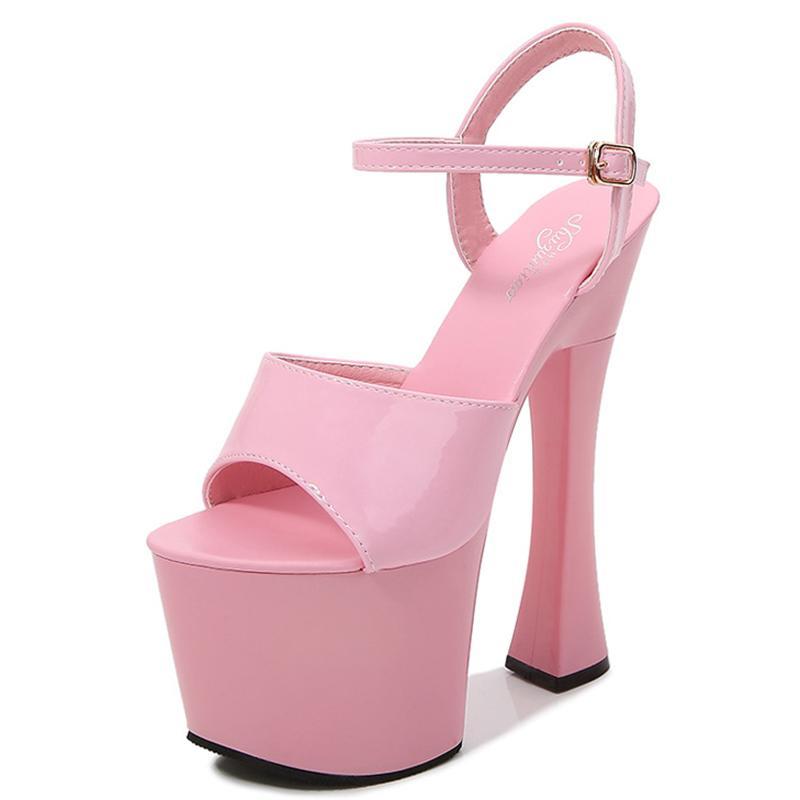 Las sandalias de las mujeres zapatos de plataforma zapatos de baile de tubo de acero pasarela de gran tamaño 34-43 del alto talón de las sandalias del club nocturno 17cm trabajan