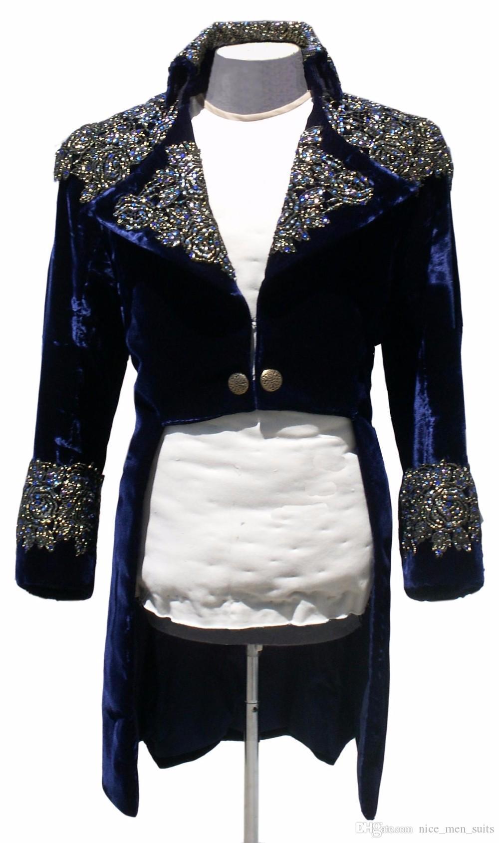 Men Suit Slim Fit 2019 Navy Blue Velvet Men suit With Applique Rhinestone For Singer Long Jacket Stage Performance 1 piece