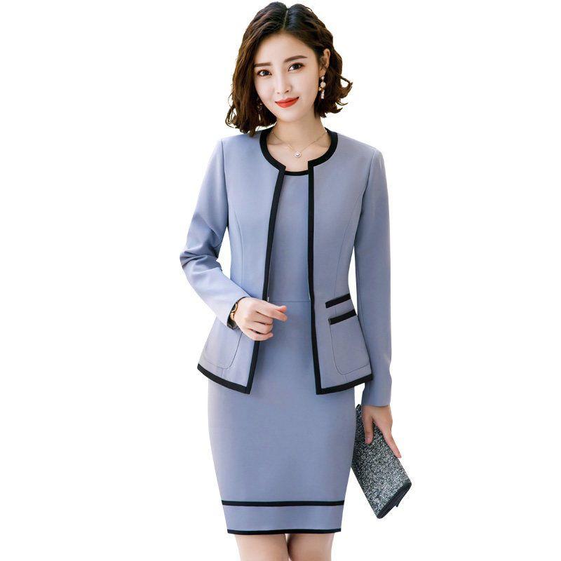 2019 Women Suits Slim Neck Jacket Dress Set Formal Women Dress Suits Womens  Business Suits From Bmw2, $59.3